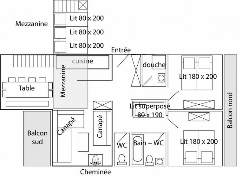 Plattegrond van de woning  Appartement 60012 Tignes