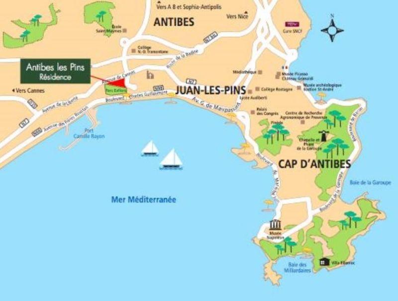 Kaart  Appartement 115401 Juan les Pins