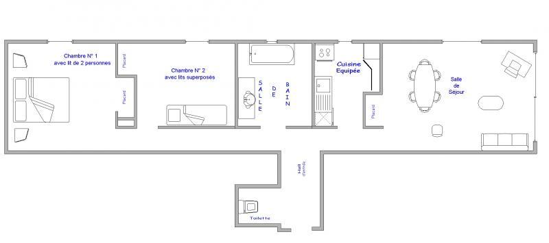 Plattegrond van de woning  Appartement 64 Alpe d'Huez